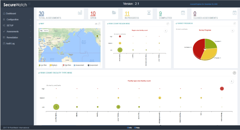 An image of SecureWatch risk assessment software in use
