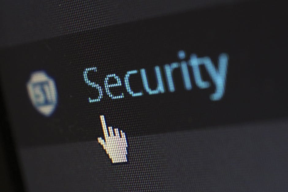 An image of a mouse pointer pointing at the word Security