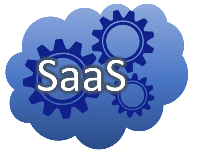 A cloud image with gears and the letters SaaS