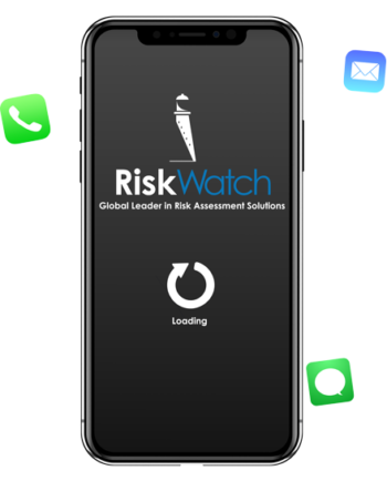 iPhone loading the RiskWatch app.