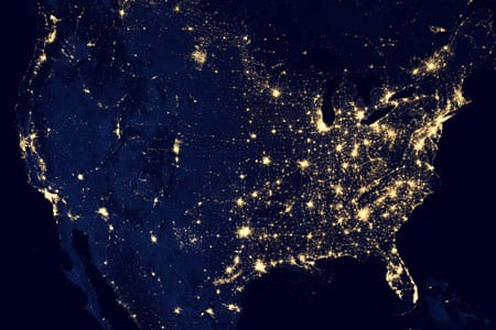 Image of North America with lights.