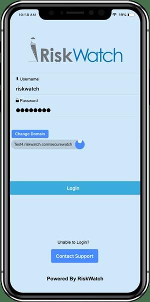 RiskWatch App Log In Screen