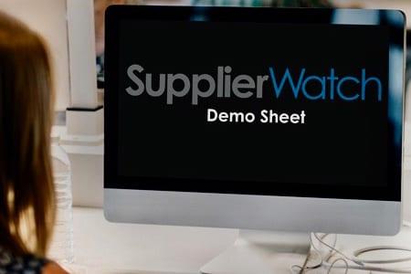 SupplierWatch data sheet on computer