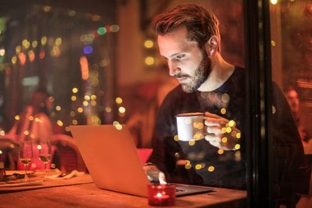 Remote worker in coffee shop