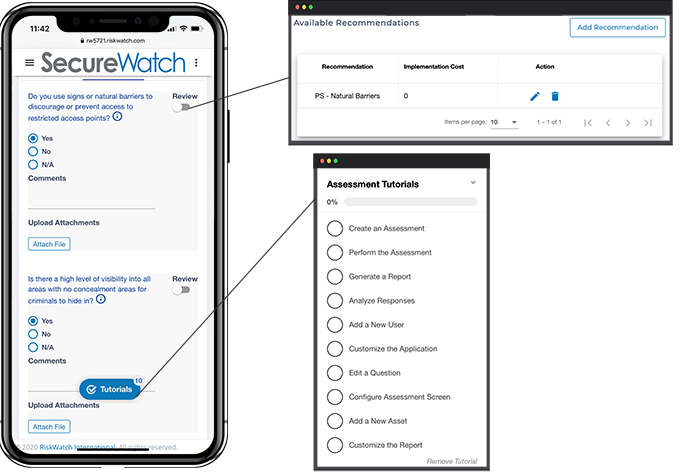 Mobile assessments feature